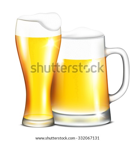 Vector illustration of two mugs of beer on a transparent background