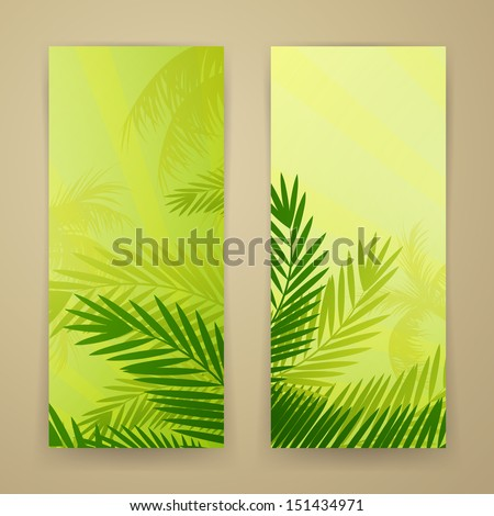 Vector Illustration of Two Nature Banners with Palm Trees - stock vector