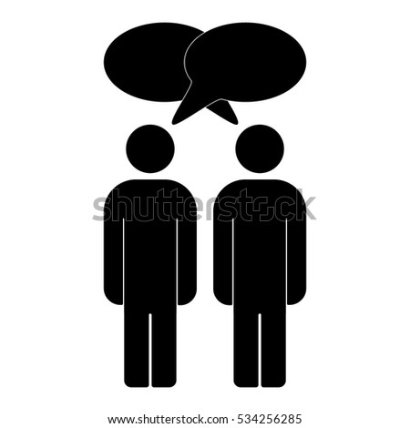 Vector Illustration Two People Talk Face Stock Vector ...