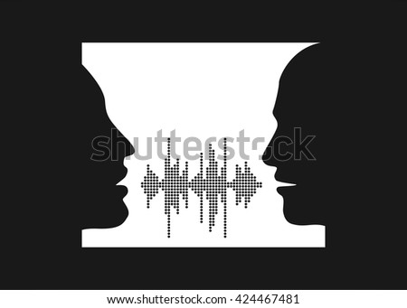 Vector illustration of two people talk face to face. Silhouettes of talking man and women in the window. Two people share words in sound wave equalizer. - stock vector