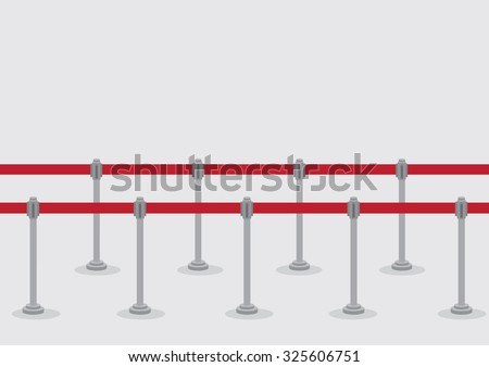 Vector illustration of two rows of queue poles and retractable belt barriers for crowd control and queuing lines isolated on grey background. - stock vector