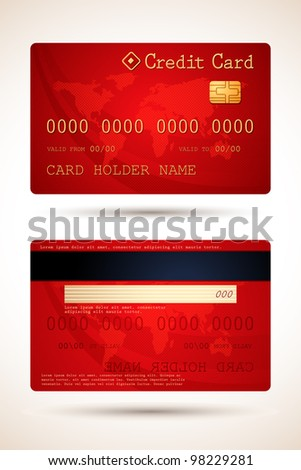 vector illustration of two side of credit card - stock vector