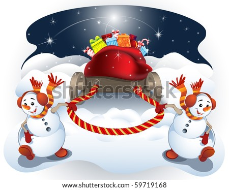 Vector illustration of two snow-boys, which pull the sled with gifts. - stock vector