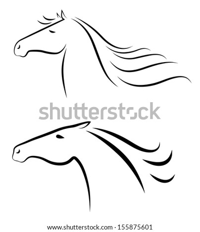 Vector illustration of two stylized horses heads  - stock vector