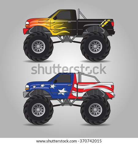 Vector illustration of two variations of monster trucks including fire burning truck and US flag truck - stock vector