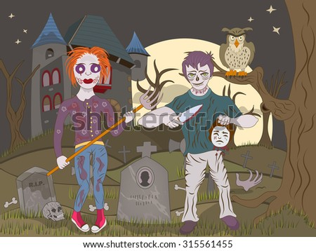 Vector illustration of two zombie kids on an abandoned graveyard. - stock vector