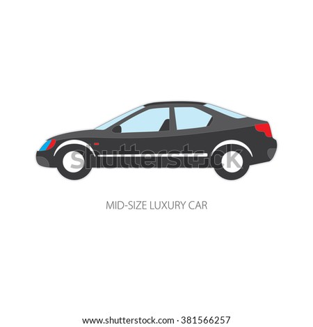 Vector Illustration Of Types Of Cars: Mid Size Luxury. Variants Of Car Body