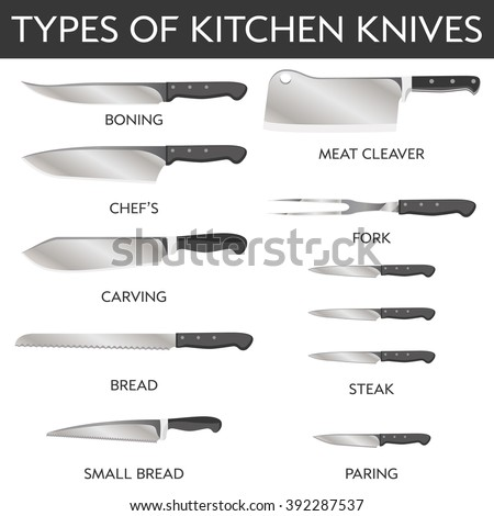 Bon Vector Illustration Of Types Of Kitchen Knives: Chefâ??s, Meat Cleaver,