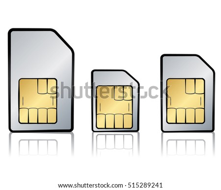 Vector illustration of types of sim cards