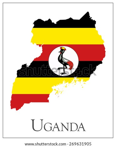 Vector illustration of Uganda flag map. Used transparency.