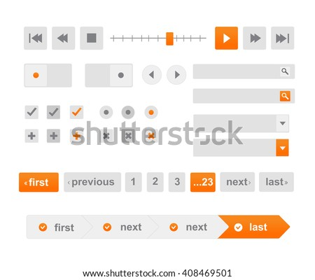 Vector Illustration of UI kit. Active button, non-activ button, check button, slider, search area