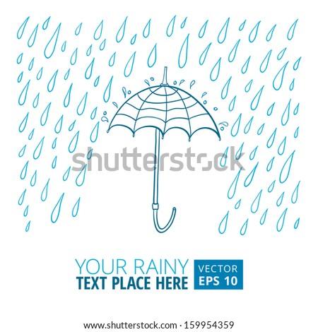 Vector illustration of umbrella and rain - stock vector