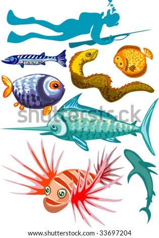 Vector illustration of underwater hunter and fishes isolated on white background - stock vector