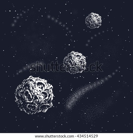 Vector illustration of universe. .Galaxy-Milky Way. Hand drawn style. Set of galactic objects. Elements for your design.