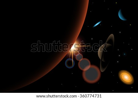 Vector  illustration of universe with galaxy,Mars,Saturn,quasar,stars,Sun,Neptune - stock vector