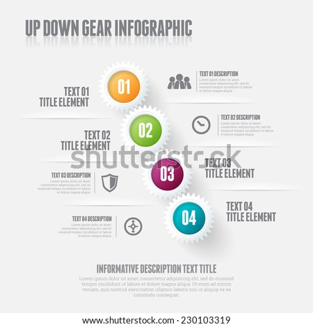 Vector illustration of up down gear infographic design elements. - stock vector