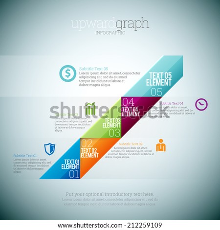 Vector illustration of upward graph infographic elements. - stock vector