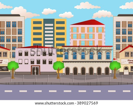 Vector illustration of urban buildings seamless background - stock vector