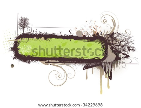 Vector illustration of urban floral background with Design elements over grunge stained frame. - stock vector