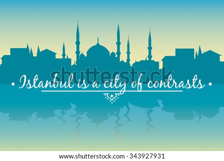 vector illustration of urban landscape of Istanbul at dawn - stock vector