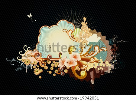 Vector illustration of urban retro styled background made of floral and ornamental elements. - stock vector