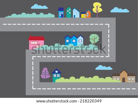 Vector illustration of urban setting with houses along a major road in a cartoon game - stock vector