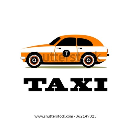 Vector illustration of urban taxi on white background