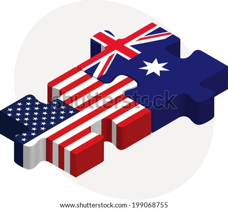 Vector illustration of USA and Australia Flags in puzzle isolated on white background - stock vector