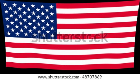 Vector illustration of USA flag waving in the wind