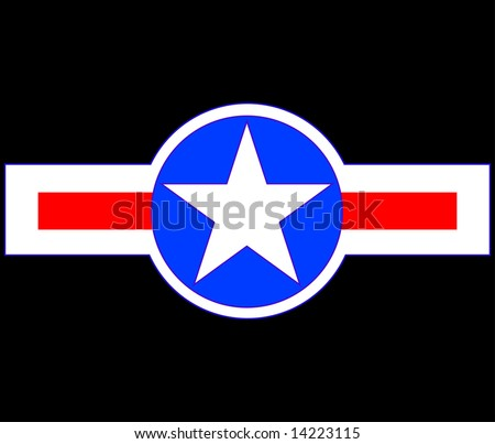 Vector illustration of USA Military aircraft symbol - stock vector