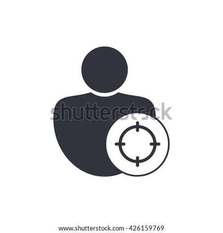 Vector illustration of user goal sign icon on white background. - stock vector