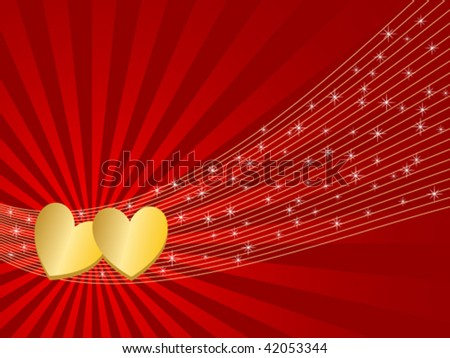 vector illustration of valentine greeting card with hearts and stars