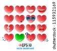 vector illustration of valentine heart emoticons - stock photo
