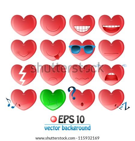vector illustration of valentine heart emoticons - stock vector