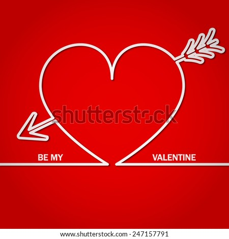 Vector Illustration of Valentine's Day Card for Design, Website, Background, Banner.  Line Style Brochure Template for Valentine. Beautiful Logo for Love with heart - stock vector