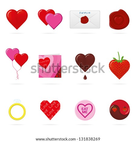 Vector illustration of valentines day icons relating to love, romance and the love heart - stock vector