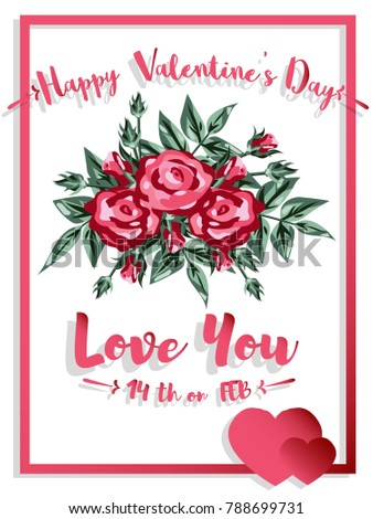 vector illustration of valentines greeting card with rose rose flowers and text happy valentines day