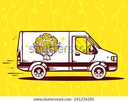 Vector illustration of van free and fast delivering bouquet of flowers to customer on yellow background. Line art design for web, site, advertising, banner, poster, board and print. - stock vector