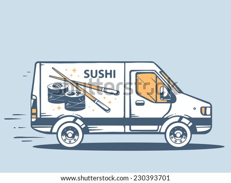 Vector illustration of van free and fast delivering sushi to customer on blue background. Line art design for web, site, advertising, banner, poster, board and print.   - stock vector