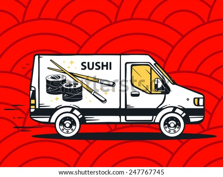 Vector illustration of van free and fast delivering sushi to customer on red pattern background. Line art design for web, site, advertising, banner, poster, board and print. - stock vector