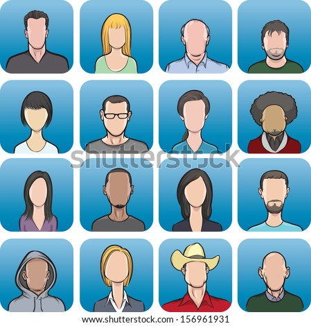 Vector illustration of various anonymous faces. Easy-edit layered vector EPS10 file scalable to any size without quality loss. High resolution raster JPG file is included. - stock vector