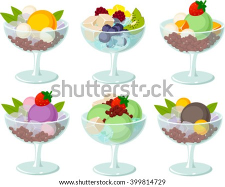 Vector illustration of various asian desserts. - stock vector