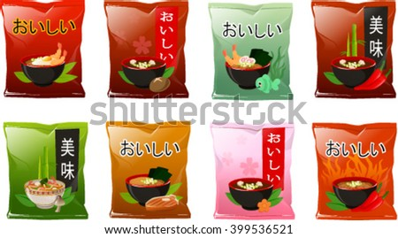 Vector illustration of various asian instant soups. The characters in japanese and chinese  mean 'delicious' - stock vector