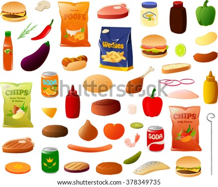Vector illustration of various bbq items. - stock vector