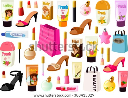 Vector illustration of various beauty products. - stock vector