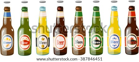 Vector illustration of various beer bottles. - stock vector