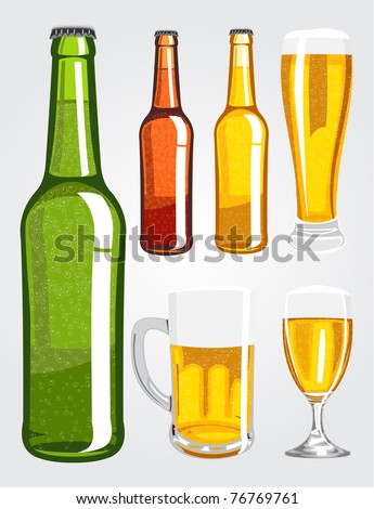 Vector illustration of various beer bottles and glasses - stock vector