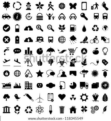 Vector illustration of various black eco icons. - stock vector