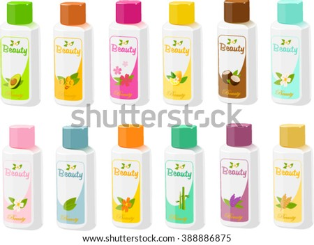 Vector illustration of various bottles of lotion, shampoo and shower gel. - stock vector
