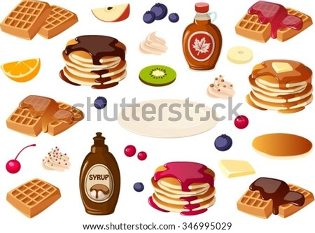 Vector illustration of various breakfast items that can be assembled. - stock vector